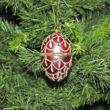 Exkluzív Piros tojás - nyitható díszes üvegdísz