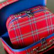 Kockás bőröndszett - 2 darabos