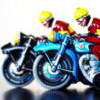 Blue motor rider hungarian replica tin toy