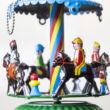 Kék tetejű körhinta lemezből lovasokkal - függeszthető dekoráció