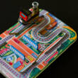 Train with traffic gates plate tin toy