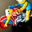 Acrobatical Clown on motocycle tin toy