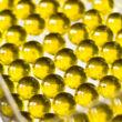 Átlátszó sárga üveggolyó szett 60db