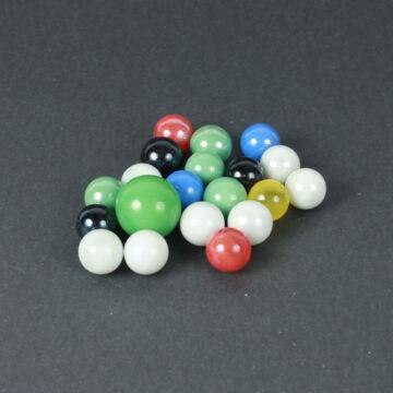 Üveggolyó szett (21 dbos)  Opal zöld és vegyes színek