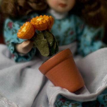 Cserepes virág  babaház kellék