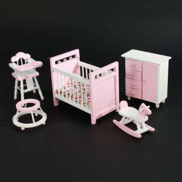Pink-white children room  furniture