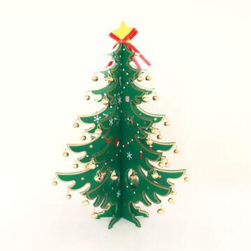 Összeállítható karácsonyfa fából fém csengőkkel  35 cm