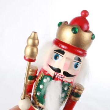 Diótörő Király fából - piros 20 cm