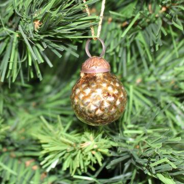 Óarany karácsonyi üveggömb szett  5 db karácsonyfadísz