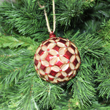 Piros-arany üveg karácsonyfadísz - 10 cm