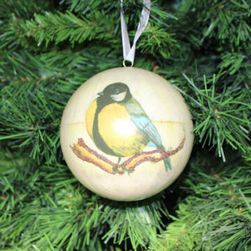 Karácsonyi gömbdísz cinkével 10 cm