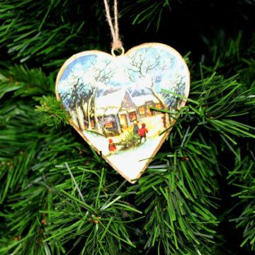 Szív házikóval (10,5 cm) - Karácsonyfadísz