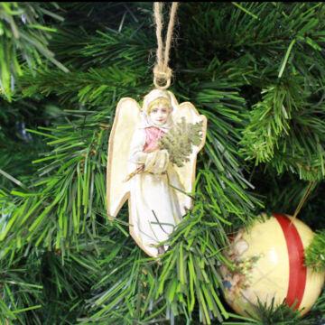 Angyalka lemez karácsonyfadísz 11 cm