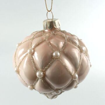 Krémgyöngyös üveg  karácsonyfadísz