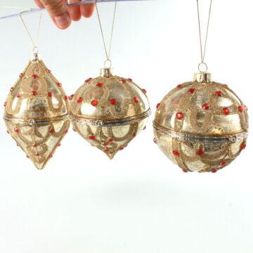 Nyitható üveg aranydísz 3 féle