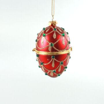 Exkluzív Piros tojás  nyitható díszes üvegdísz