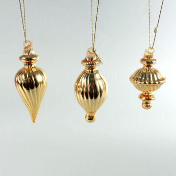 Arany üvegdíszek 3dbos karácsonyfadísz szett