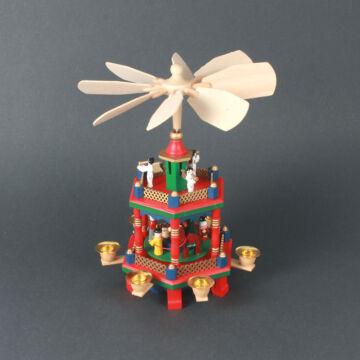 Színes Karácsonyi forgó fából 2 szintes