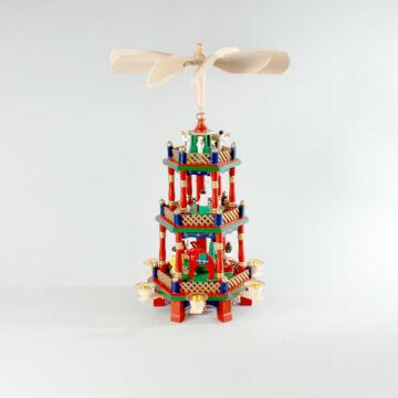 Színes karácsonyi forgó fából  3 szintes, 45 cm