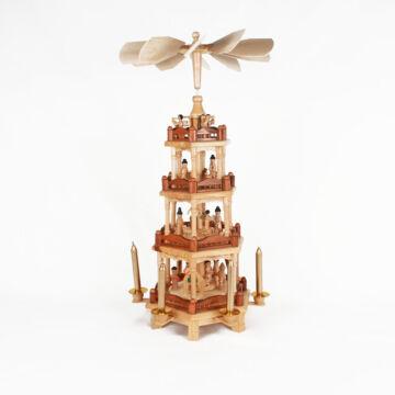 4 szintes karácsonyi forgó pácolt oszlopokkal 55 cm