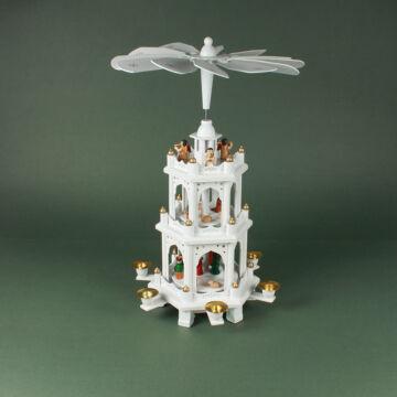 Fehér és arany Karácsonyi forgó 3 szintes 45cm