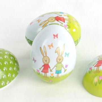 Nyitható nyuszis húsvéti tojás fémből
