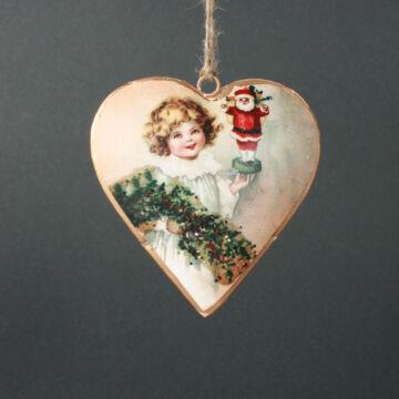 Szív kislánnyal - Karácsonyfadísz