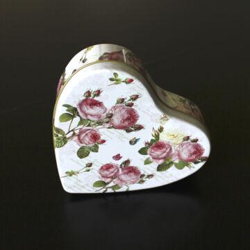 Rózsás szív alakú lemezdoboz
