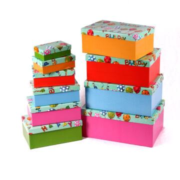 Dobozban doboz  Tréfás születésnapi doboz szett 10 dbos