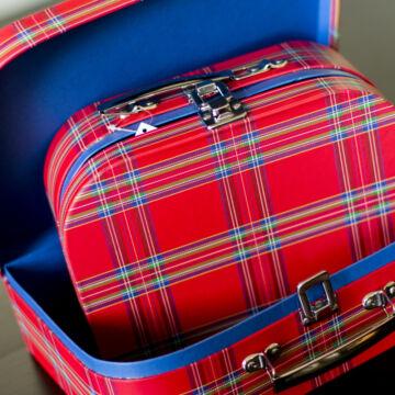Kockás bőröndszett  2 darabos
