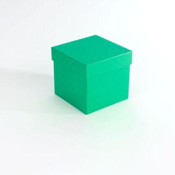 Zöld fedeles fémdoboz  kocka alakú, ajándékok számára