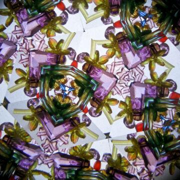 Pompás virágok - réz burkolatú kaleidoszkóp 20 cm