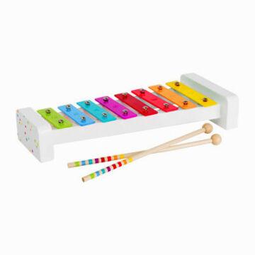 Fehér fa xylofon 8 fém hanggal