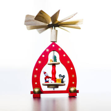 Piros, egyszintes karácsonyi forgó  15 cm