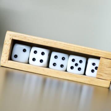 Small Dice set in wooden box
