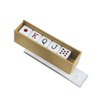 Poker dice set in wooden box