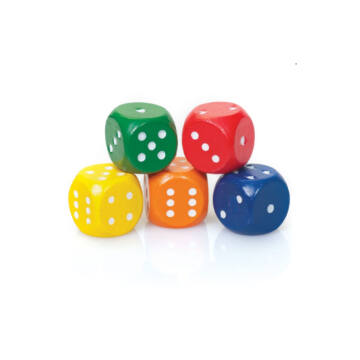 Coloured wooden dice set 5 pcs