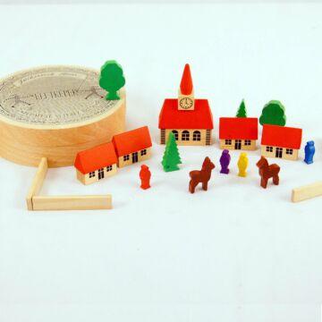 Miniváros  szerepjáték szett fából 19db