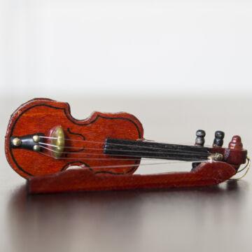 Hegedű vonóval - 8 cm