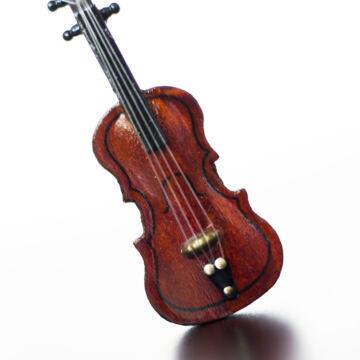 Fa Hegedű vonóval - 10 cm