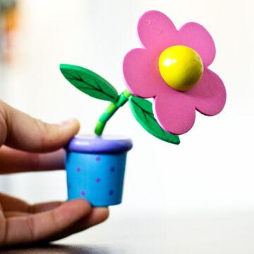 Rózsaszín alsó rugós virág fából cserépben