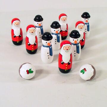 Wooden Snowmen and Santas bowling set
