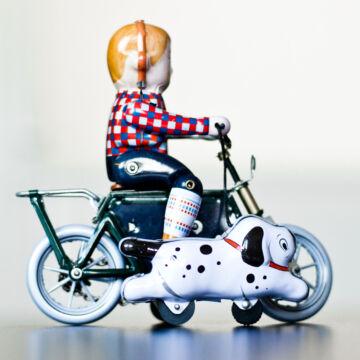 Biciklis fiú kutyával   lemezjáték