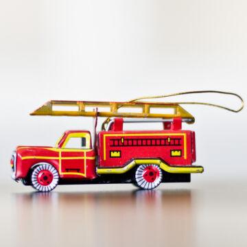 Tűzoltóautó    függeszthető dekoráció 8cm