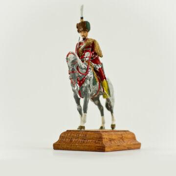 Nagy ólom lovas piros egyenruhában