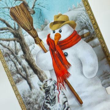 Téli táj hóemberrel - térbeli képeslap