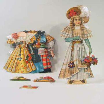 BEATRICE papír öltöztetőbaba - dekor csomagolásban