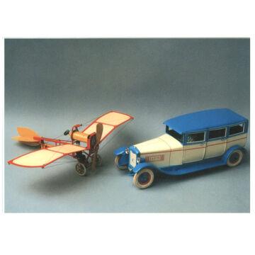 Levelezőlap repülővel és régi autóval