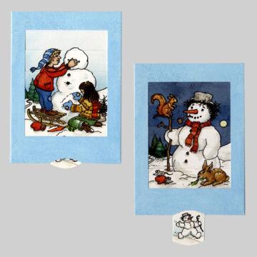 Hóember építés  változó képeslap