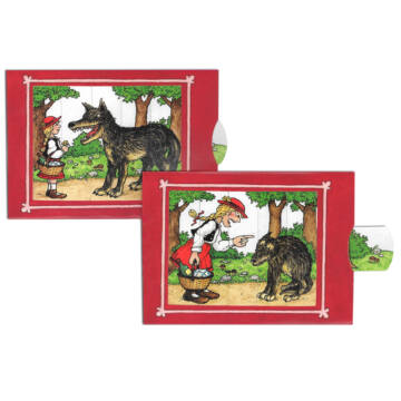 Little red riding-hood and wolf changing card